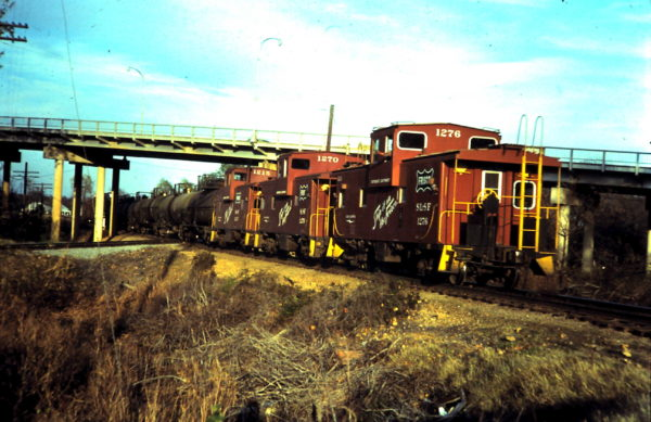 Cabooses 1215, 1270 and 1276 at Sapupla, OK (date unknown)
