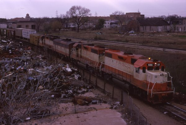 GP38-2s 686 and 667 at Oklahoma City, Oklahoma on November 13, 1973
