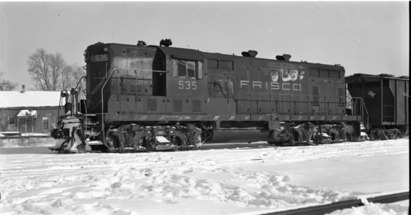 GP7 535 at North Clinton, Missouri on January 11, 1974