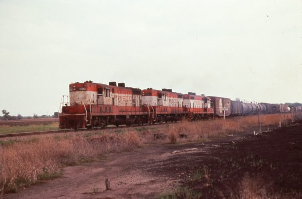 GP7s 590, 581, and 582 with Train #331 at Cherryvale, Kansas on April 28, 1978
