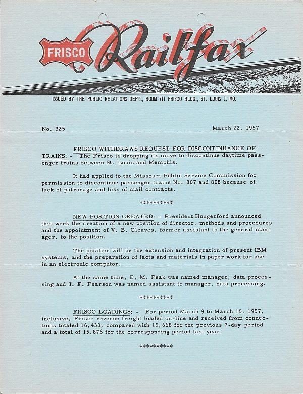 Railfax 325 - March 22, 1957