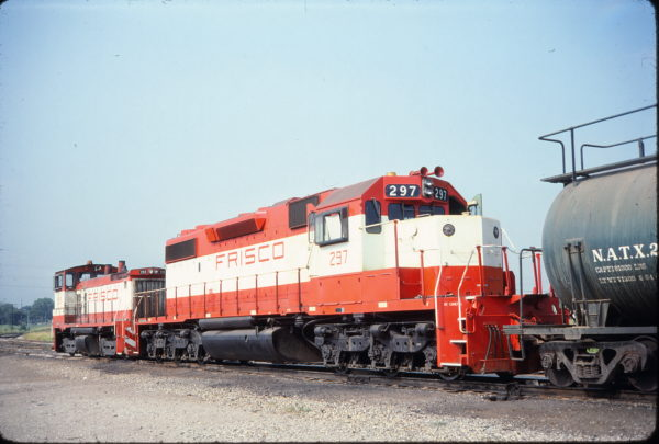 SD38-2 297 and SW1500 359 Tulsa, OK in July 1980