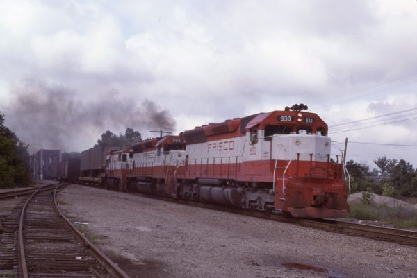 SD45s 930 and 906 and U30B 840 at Valley Park, Missouri on July 28, 1979