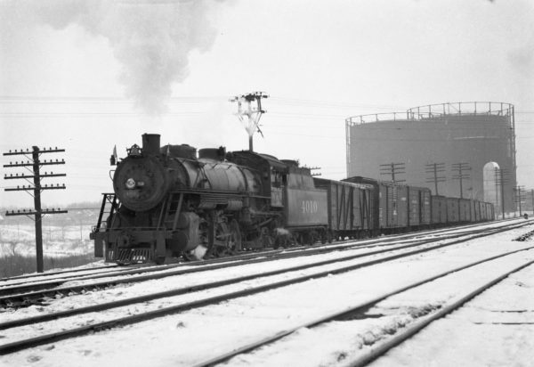 2-8-2 4010 Northbound at Southeastern Junction in February 1942 (William K. Barham)
