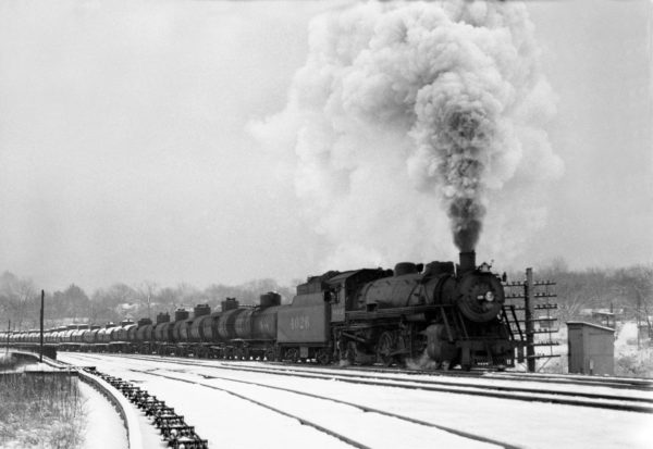 2-8-2 4026 Southbound at Southeastern Junction in March 1943 (William K. Barham)
