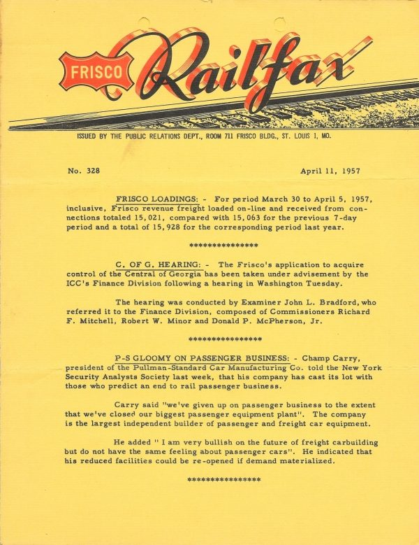 Railfax 328 - April 11, 1957