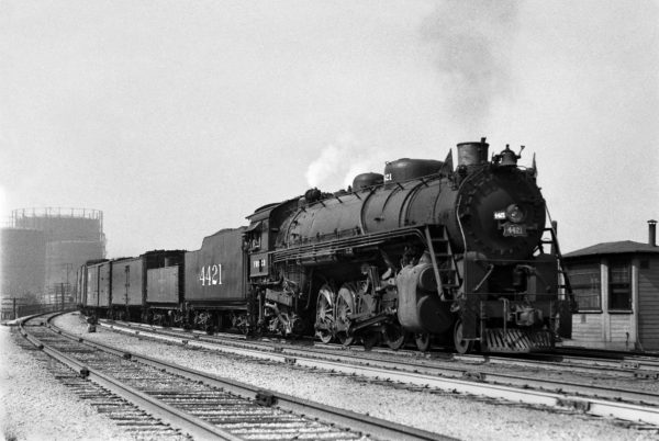 4-8-2 4421 with Train #38 (3rd Section) at Lindenwood Yard, St. Louis, Missouri in April 1943 (William K. Barham)