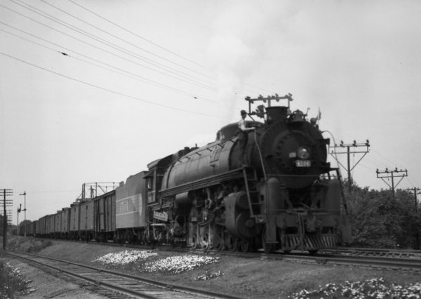 4-8-4 4504 with Train #38 (3rd Section) at Southeastern Junction, St. Louis, Missouri in 1943