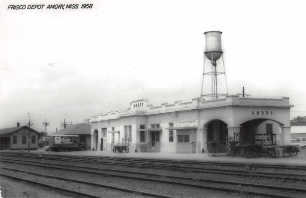 Amory, Mississippi Depot in 1958 (Postcard)