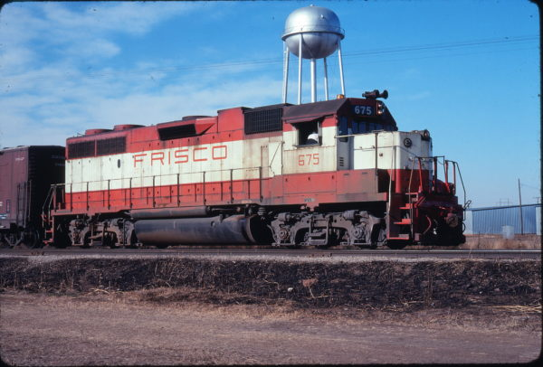 GP38-2 675 at Altus, Oklahoma on December 23, 1977 (Michael Reid)
