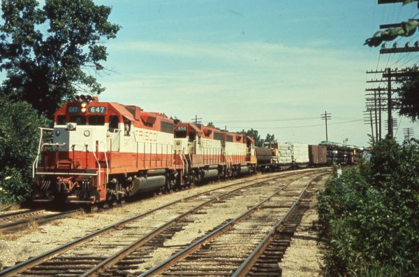 GP38ACs 647 and 650 at Kansas City, Missouri (date unknown)