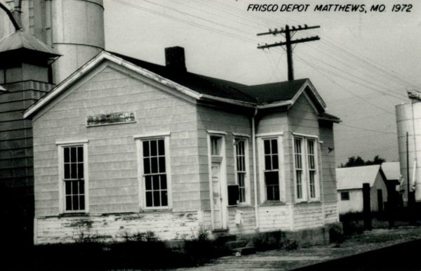 Matthews, Missouri Depot in 1972 (Postcard)