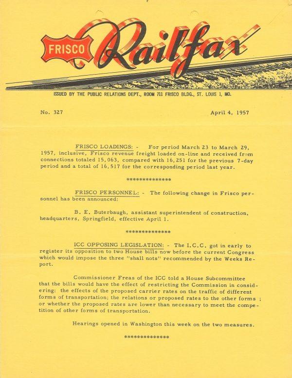 Railfax 327 - April 4, 1957