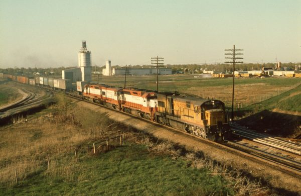 SD45 928, U30B 852 and SD45 908 at Olathe, Kansas on April 21, 1979 (UP U30C 2846)