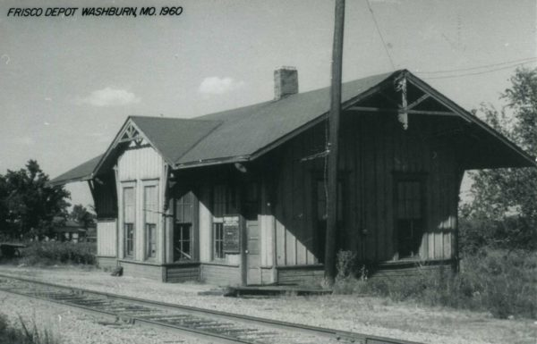 Washburn, Missouri Depot in 1960 (Postcard)