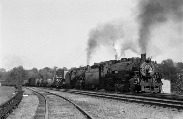 2-8-2 4026 and 4-6-0 1402 Southbound at Southeastern Junction, St. Louis, Missouri in June 1942 (William K. Barham)