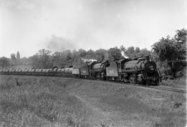 2-8-2s 4026 and 4010 Northbound at Shrewsbury, Missouri in 1941