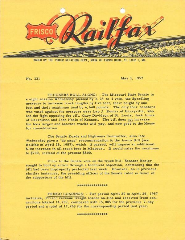 Railfax 331 - May 3, 1957