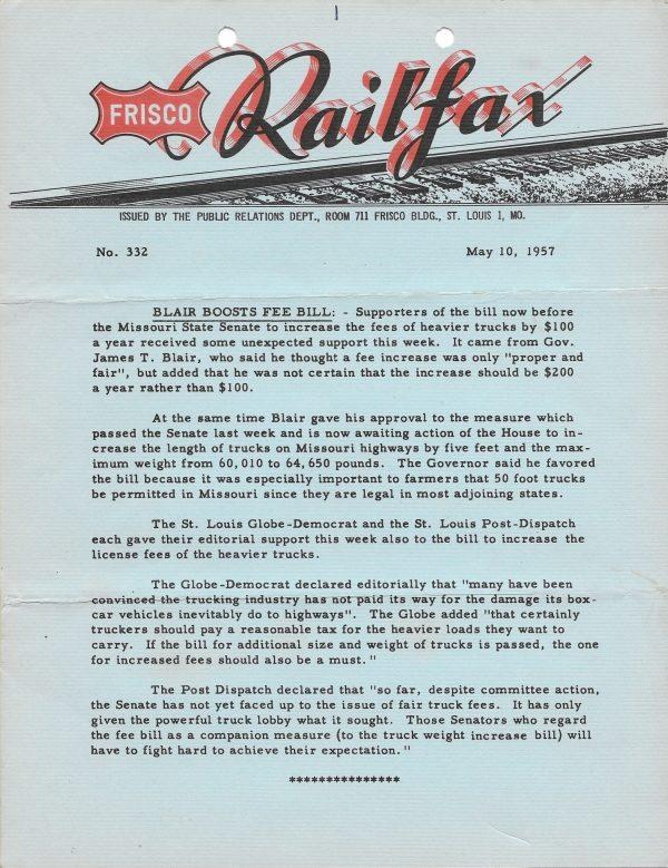 Railfax 332 - May 10, 1957