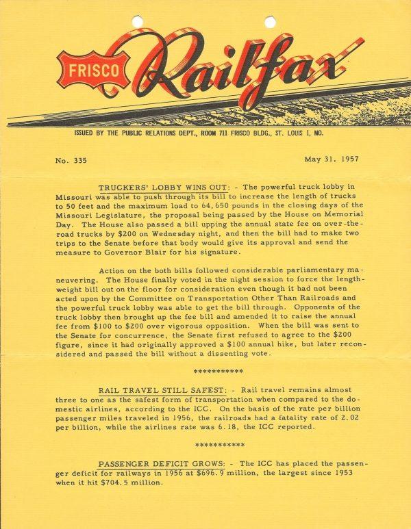 Railfax 335 - May 31, 1957