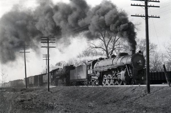 4-8-2s 4421 and 4304 Westboun at Kirkwood, Missouri in January 1943 (William K. Barham)