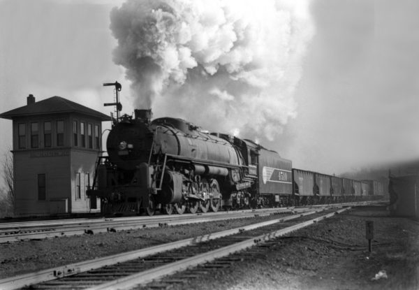 4-8-4 4510 Extra Westbound at the Southeastern Junction Tower, St. Louis, Missouri in 1942 (William K. Barham)