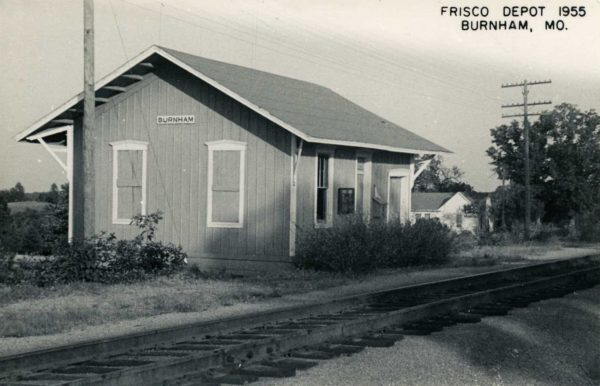 Burnham, Missouri Depot in 1955 (Postcard)