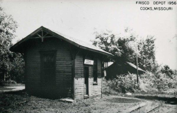 Cooks, Missouri Depot in 1956 (Postcard)