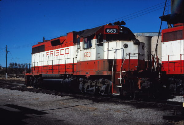 GP38-2 663 at Enid, Oklahoma on December 17, 1980