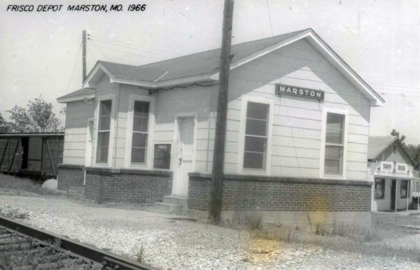 Marston, Missouri Depot in 1966 (Postcard)
