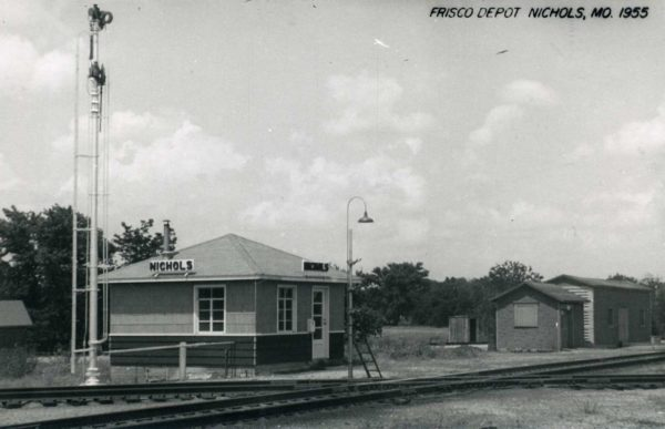 Nichols, Missouri Depot in 1955 (Postcard)