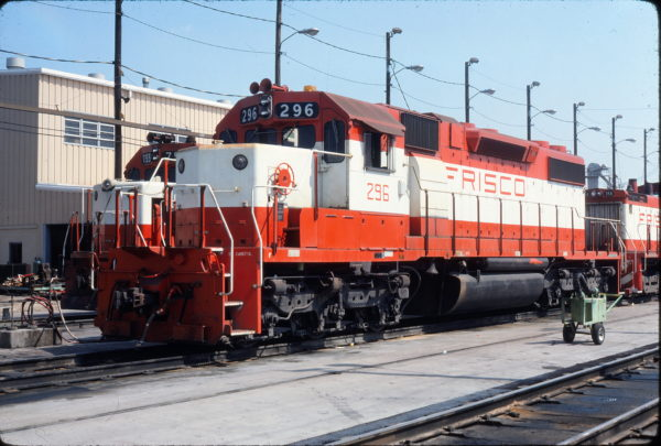 SD38-2 296 at Tulsa, Oklahoma in August 1980