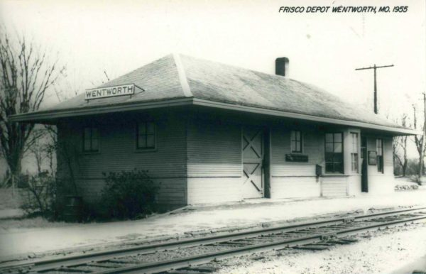 Wentworth, Missouri Depot in 1955 (Postcard)