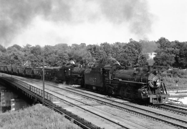 2-8-2 4027 and 4-6-0 1407 with Train #835 at Southeastern Junction in May 1943 (William K. Barham)
