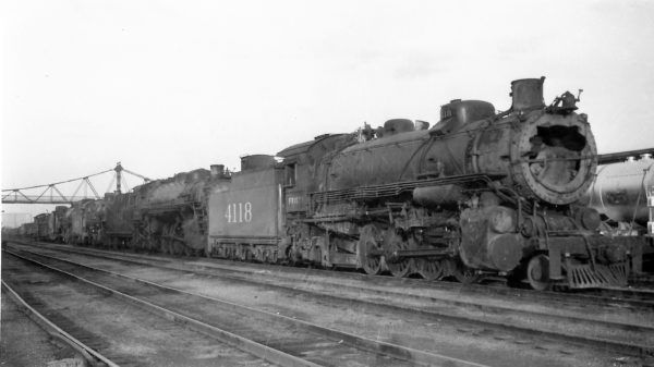 2-8-2 4118 at Springfield, Missouri on March 5, 1949 (Arthur B. Johnson)