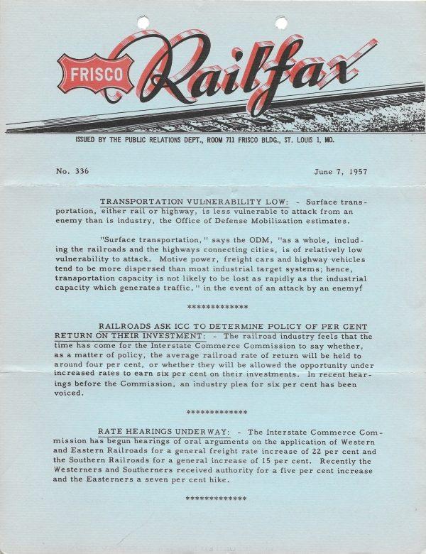 Railfax 336 - June 7, 1957