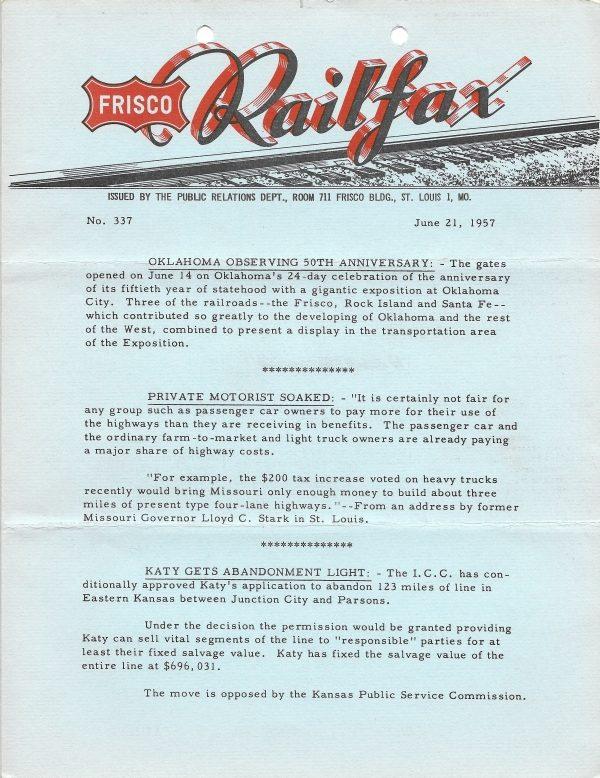 Railfax 337 - June 21, 1957