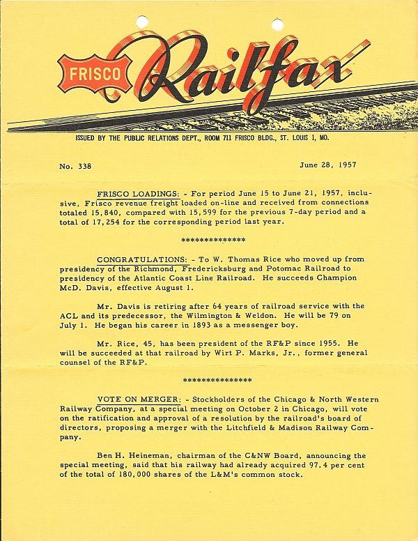 Railfax 338 - June 28, 1957