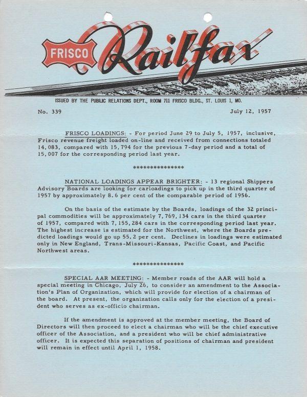 Railfax 339 - July 12, 1957