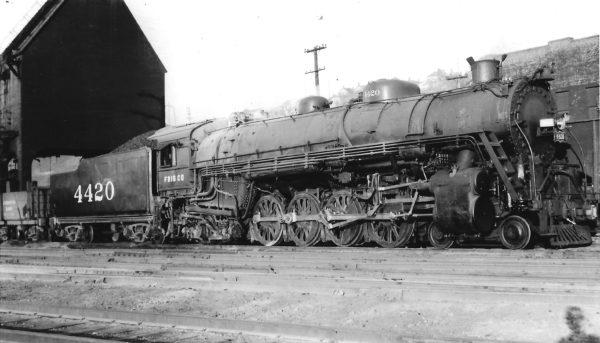 4-8-2 4420 at Kansas City, Missouri on September 1, 1947 (Arthur B. Johnson)