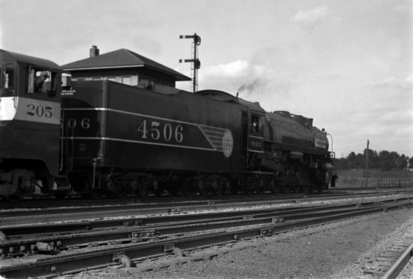 4-8-4 4506 new at the Southeastern Junction Tower, St. Louis, Missouri in 1942 (William K. Barham)