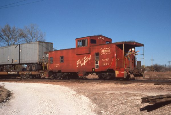 Caboose 1714 at Sherman, Texas in November 1979