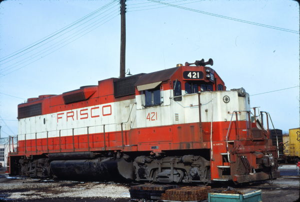 GP38-2 421 at Fort Worth, Texas on February 17, 1980
