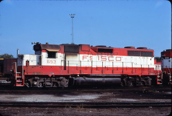 GP38AC 653 at St. Louis, Missouri in August 1980 (James Herold)