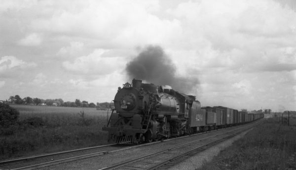 2-8-2 4204 at Nichols, Missouri with 35 cars on September 3, 1944 (Louis A. Marre)