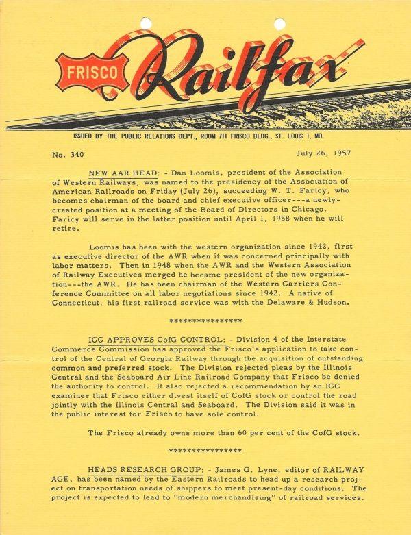 Railfax 340 - July 26, 1957