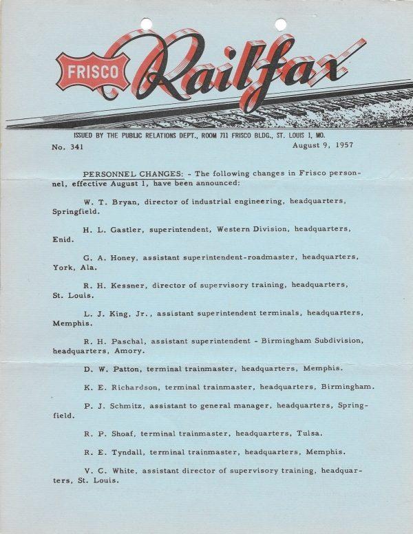Railfax 341 - August 9, 1957
