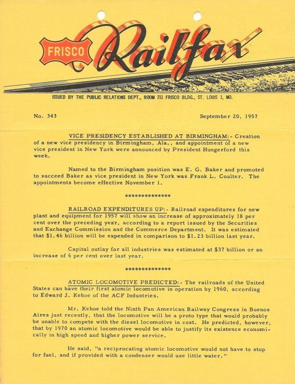 Railfax 343 - September 20, 1957