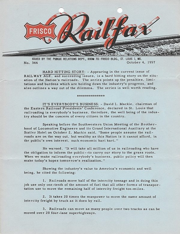 Railfax 344 - October 4, 1957