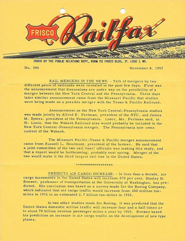 Railfax 346 - November 8, 1957